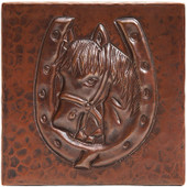 Copper Tile (TL257) Horse in Horseshoe *free shipping*
