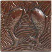 Copper Tile (TL260) Pisces Fish Design *free shipping*