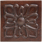 Floral burst copper tile 4x4