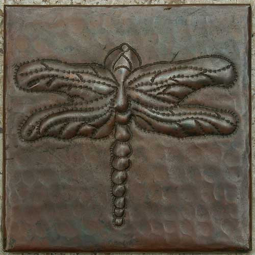 Hammered copper tile with dragonfly design
