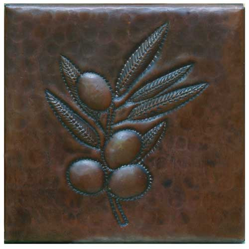 Olive branch design copper tile