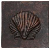 Sea shell design copper tile