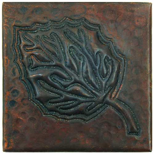 Aspen Leaf design copper tile