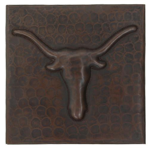 Longhorn design copper tile