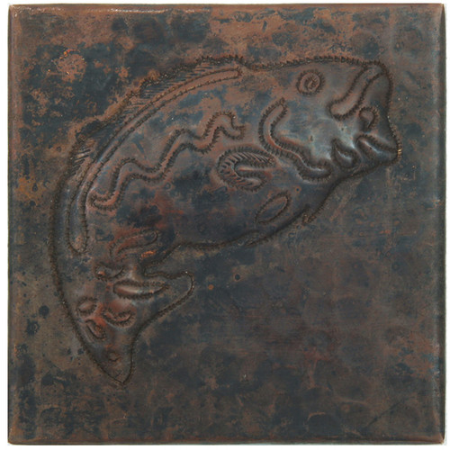 Bass fish design copper tile