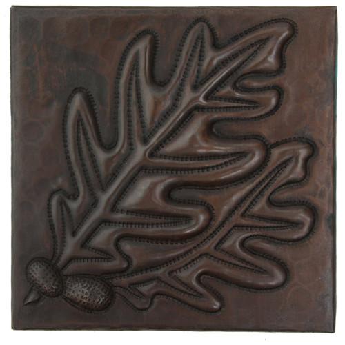 Acorns with leaves design copper tile