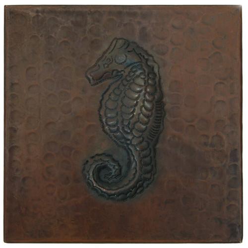 Sea Horse design copper tile