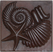 Sea Shells and Starfish design copper tile
