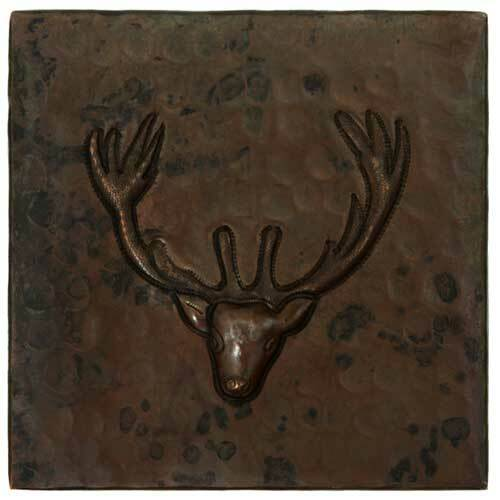Deer head design copper tile