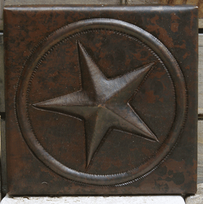 Texas Star design copper tile
