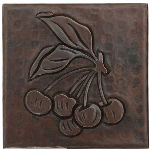 Cherry design copper tile