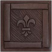 Copper Tile (TL426) Framed Fleur De Lis Design