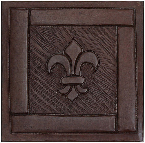 Framed Fleur De Lis design copper tile