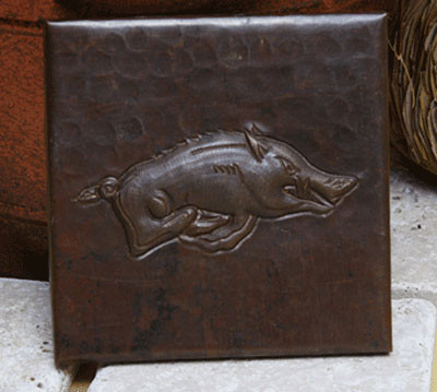 Wild Boar design copper tile