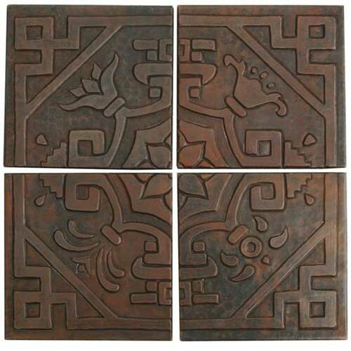 Medallion mosaic design copper tile