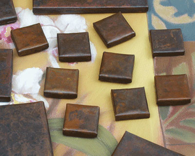 mini hammered copper 1x1 copper tile