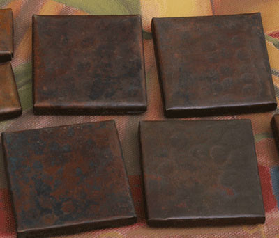 2x2 hammered copper tiles