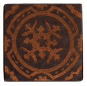 Baroque etched design copper tile