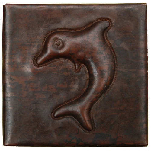 Dolphin design copper tile