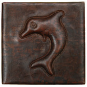 Dolphin design copper tile