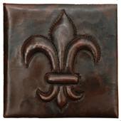 """Copper Tile (TL502FLR) 2""""x 2"""" Fleur De Lis Design"""