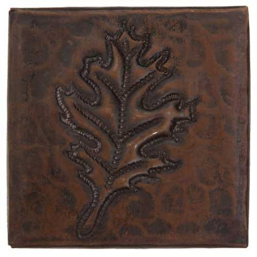 Oak leaf design copper tile
