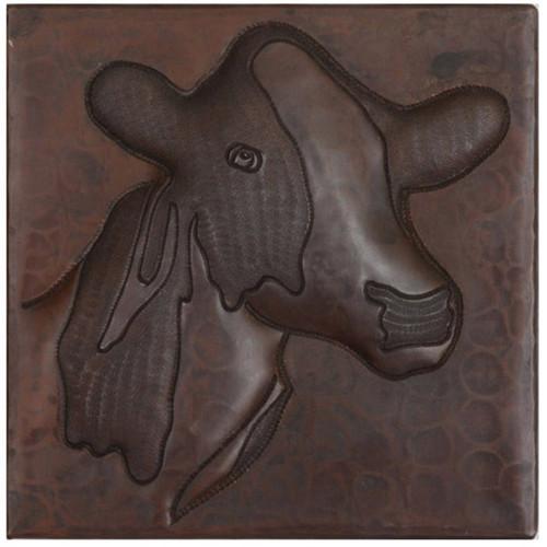 Cow design copper tile