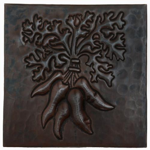 Carrot bunch design copper tile