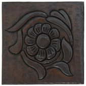 Floral design copper tile