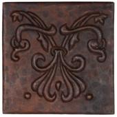 Copper Tile (TL710) Abstract Fleur de Lis Design
