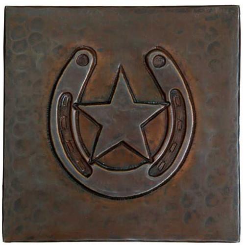 Horseshoe/star design copper tile