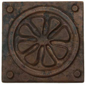 Daisy Circle hammered copper tile