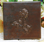 Rose design copper tile