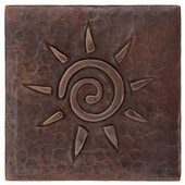 Infinity Sun design copper tile