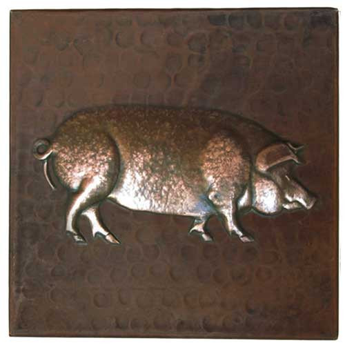 Pig design copper tile