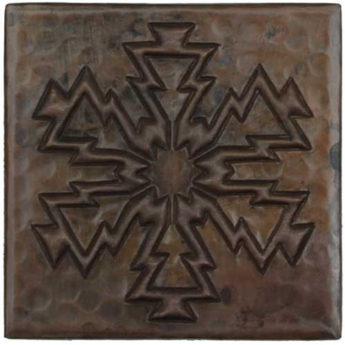 Electric Snowflake design copper tile