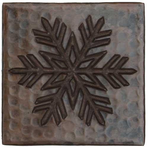 Fern Snowflake design copper tile