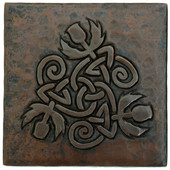 Copper Tile (TL979) Triangle of Flowers Design *free shipping*