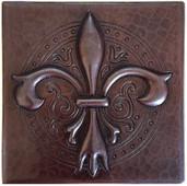 Copper Tile (TL990) Ornate Fleur De Lis Tile *free shipping*