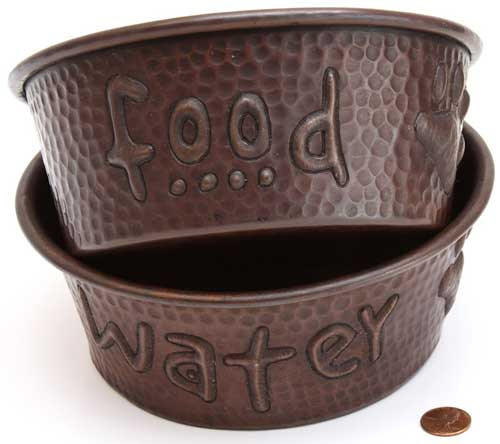 copper pet bowls for food and water set