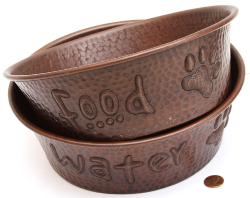 copper pet bowl set for food and water