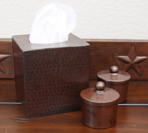 hammered copper tissue box cover