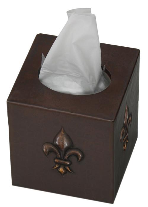 Fleur De Lis design copper tissue box