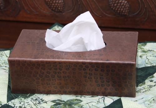 Hammered design copper tissue box