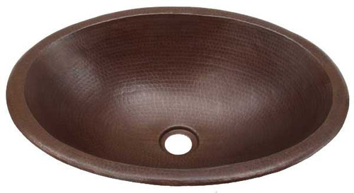 BO19CN-Wide oval hammered copper sink