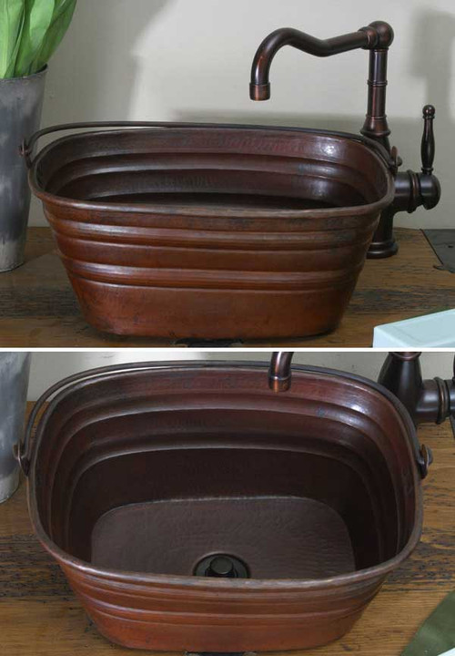 16 Rectangle Copper Sink Bucket Vessel Sink Copper Sinks Direct