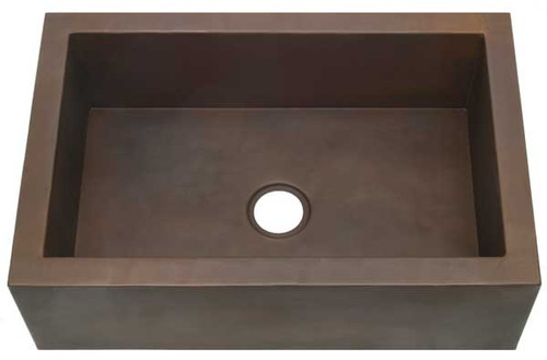 Smooth copper kitchen sink with apron front.