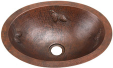 Small copper oval sink with Pinecone Design