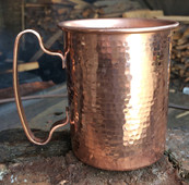 Hammered copper mug with toast handle