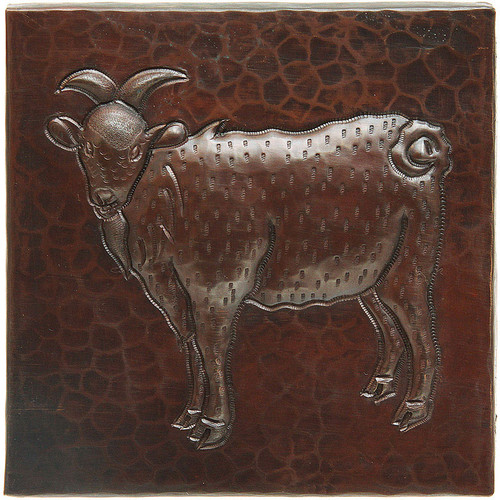 Copper Tile with Goat Design